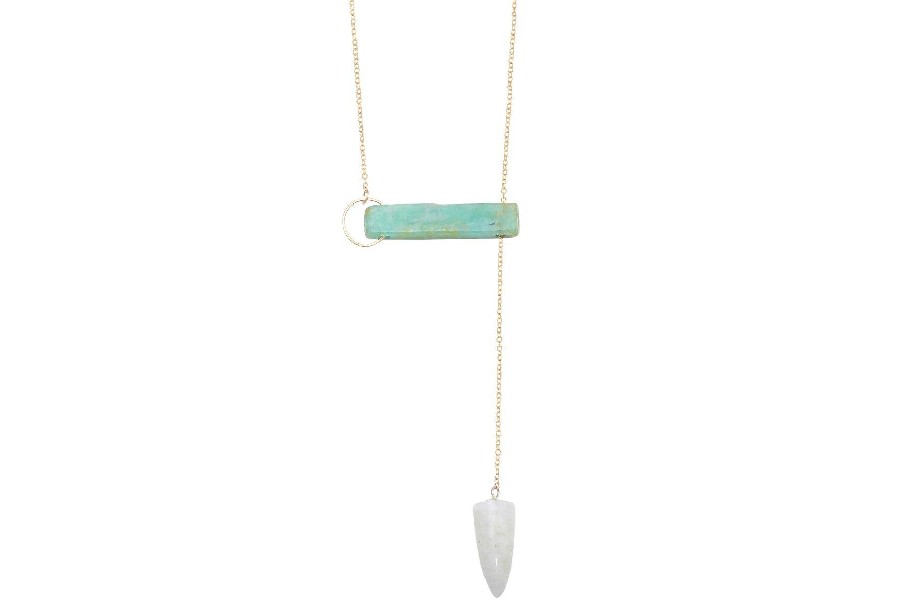 InSync necklace - Amazonite Bar & Rainbow Moonstone Pendulum - Amanda K Lockrow