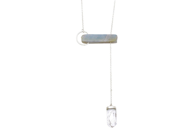 InSync necklace - Labradorite Bar & Rutilated Quartz point - Amanda K Lockrow
