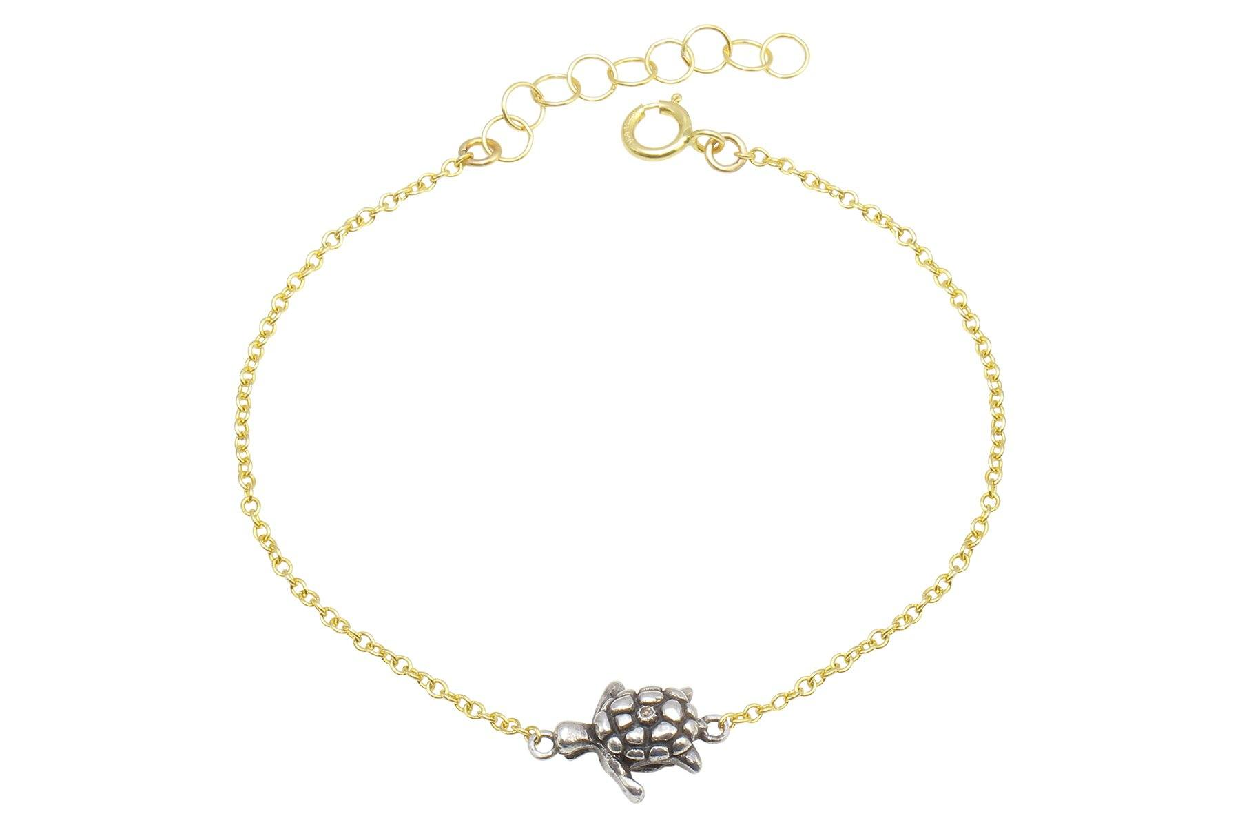 Naia diamond sea turtle bracelet // sterling silver and gold filled - Amanda K Lockrow
