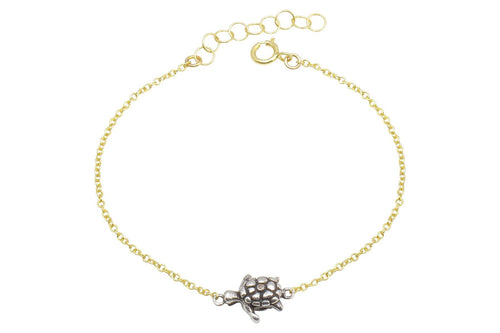 Naia diamond sea turtle bracelet // sterling silver and gold filled bracelet Amanda K Lockrow
