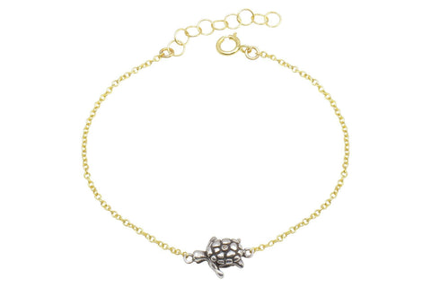 Naia diamond sea turtle bracelet // sterling silver and gold filled