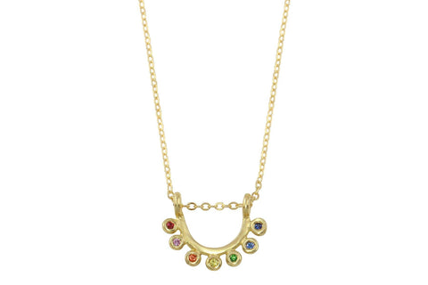 14k gold and rainbow sapphire dainty sunrise necklace