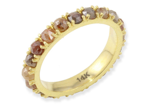 Custom 14K gold and rosecut diamond eternity band ring Amanda K Lockrow