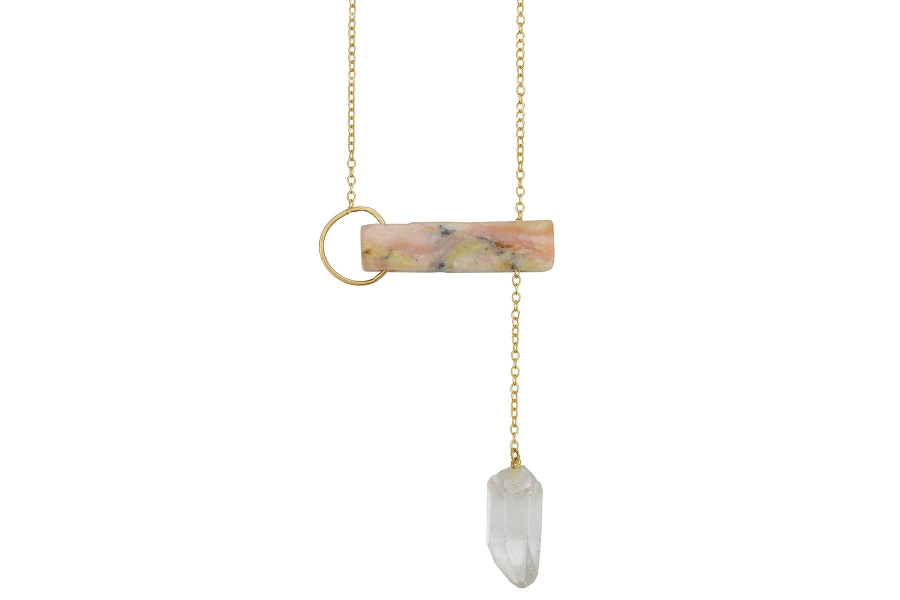 InSync necklace - Custom Pink Opal Bar & Clear Quartz Point - Amanda K Lockrow
