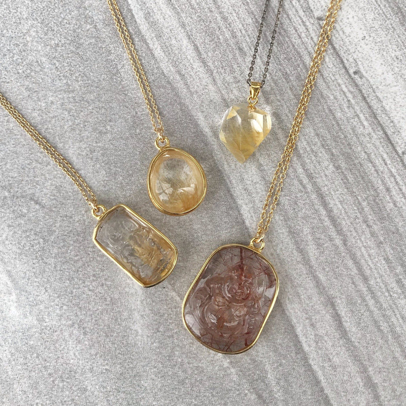 Rutilated quartz freeform silver crystal necklace - golden rutilated quartz pendant