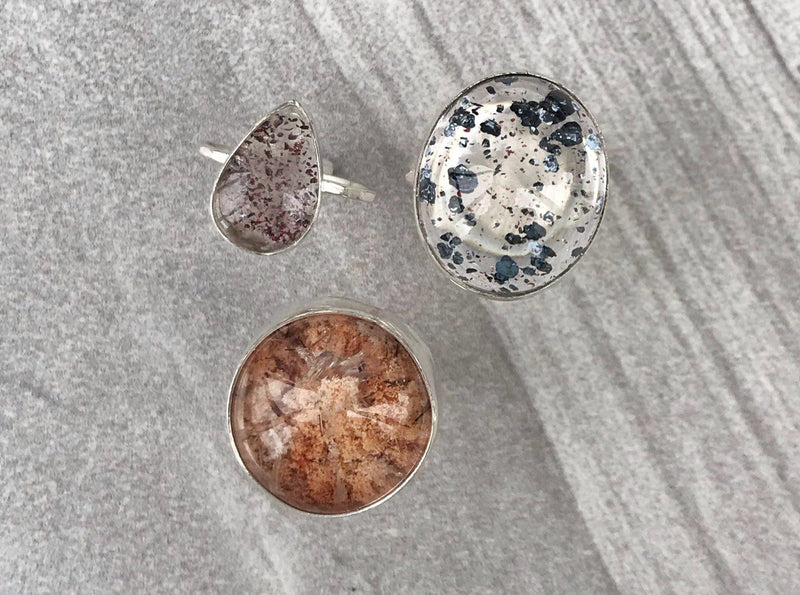 Lepidocrocite in quartz ring size 6- disco quartz, confetti quartz