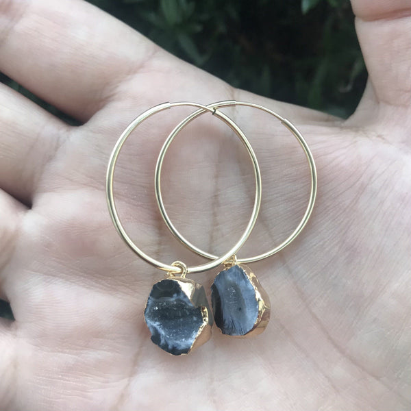 Geode gold hoop earrings, 14k gold filled 30mm hoop earrings