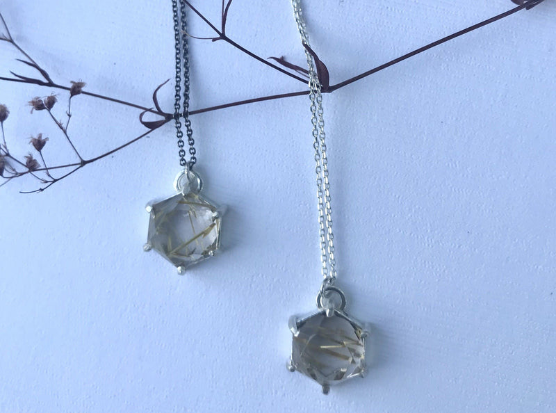 Aislinn sterling silver golden rutilated quartz necklace necklace Amanda K Lockrow