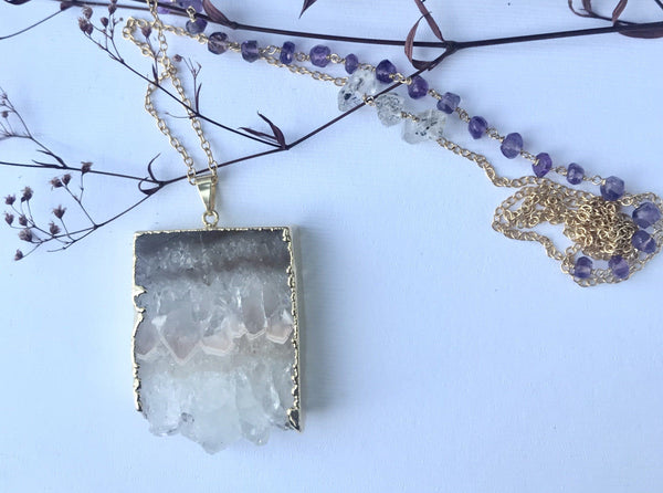 Thea - Amethyst Stalactite slice 30 inch long necklace