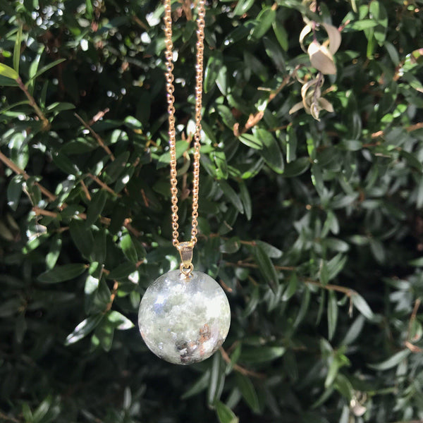 Garden quartz with mica sphere necklace, shamanic dream quartz necklace, lodalite necklace - Aislinn Collection
