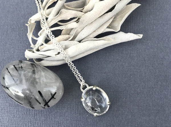 Aislinn quicksand enhydro quartz sterling silver necklace