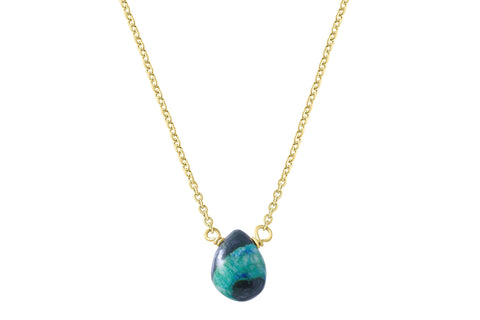 Little rock azurite and feldspar drop necklace // crystal necklace choose silver or gold filled