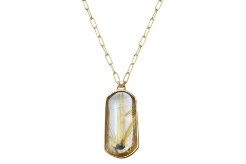 Aislinn golden star rutilated quartz crystal necklace - gold filled