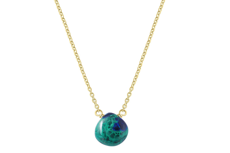 Little rock azurite and malachite drop necklace // crystal necklace choose silver or gold filled necklace Amanda K Lockrow