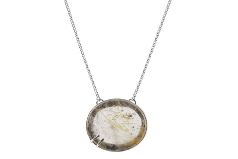 rutilated quartz oval necklace