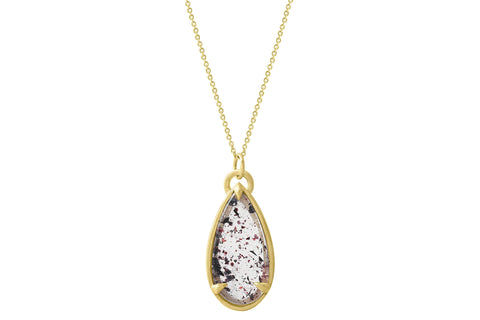 10K gold lepidocrocite necklace - disco quartz, confetti quartz