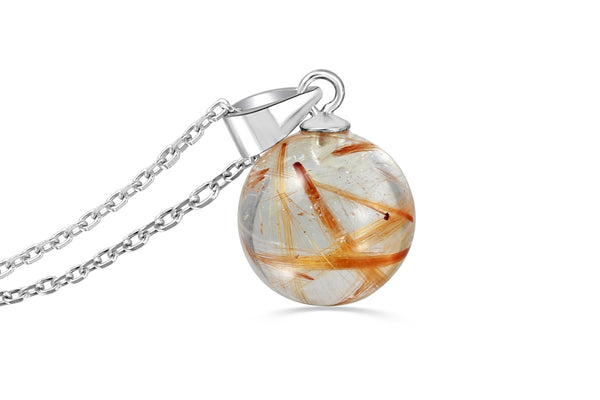 Little rutilated quartz sphere necklace - Aislinn Collection