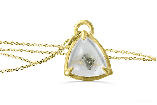 10K gold pyrite in quartz necklace