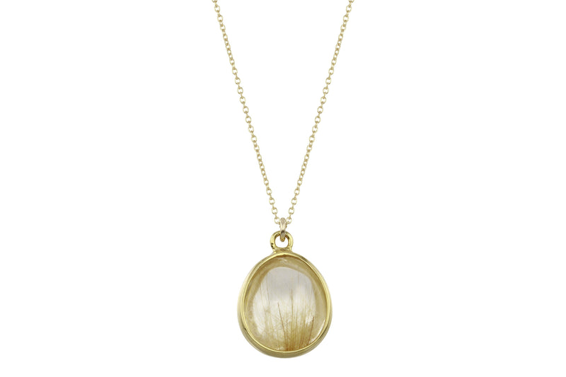 gold rutilated quartz small drop necklace