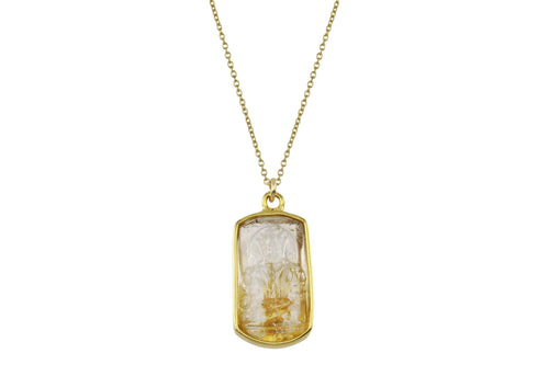 Kuan Yin rutilated quartz necklace