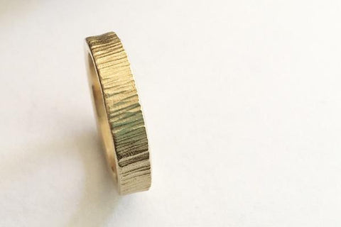 14K gold bark hammered men's band - Amanda K Lockrow