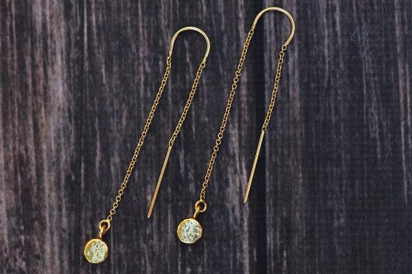 14k gold filled pebble threader earrings