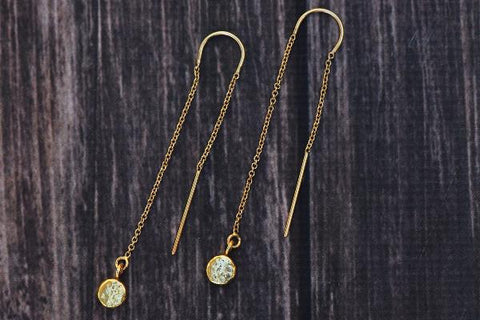 14k gold filled pebble threader earrings - Amanda K Lockrow