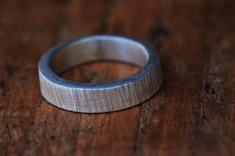 Bark hammered unisex silver band