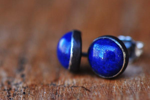 Lapis silver stud earrings earrings Amanda K Lockrow