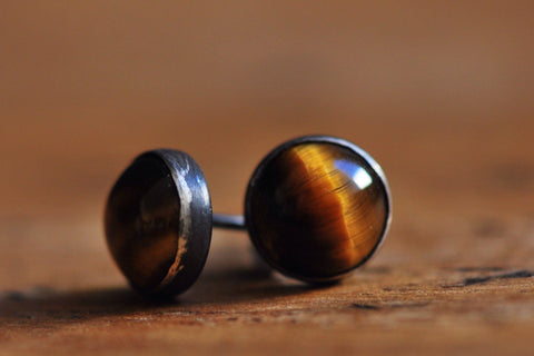 Tigerseye silver stud earrings - Amanda K Lockrow