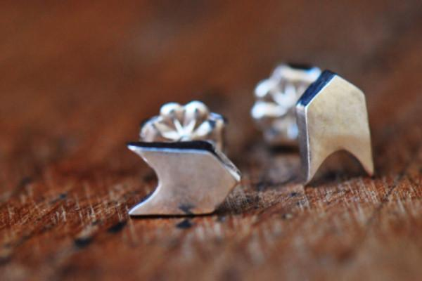 Sterling silver follow your arrow stud earrings - Amanda K Lockrow