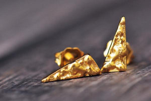 18k yellow vermeil triangle studs - Amanda K Lockrow