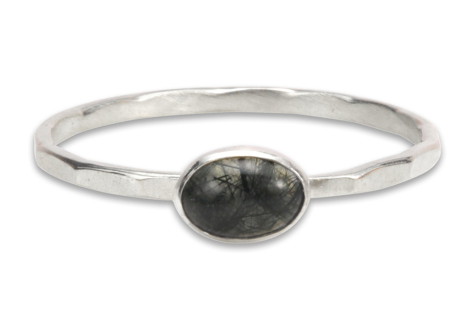 Tourmalinated Quartz sterling silver stacking ring - Amanda K Lockrow