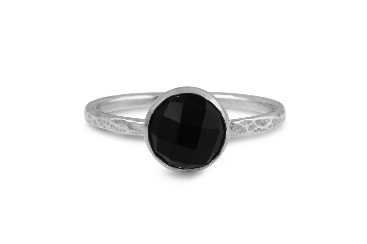 Black onyx 8mm sterling silver stacking ring