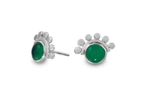 Green onyx sunrise sterling silver cabochon studs