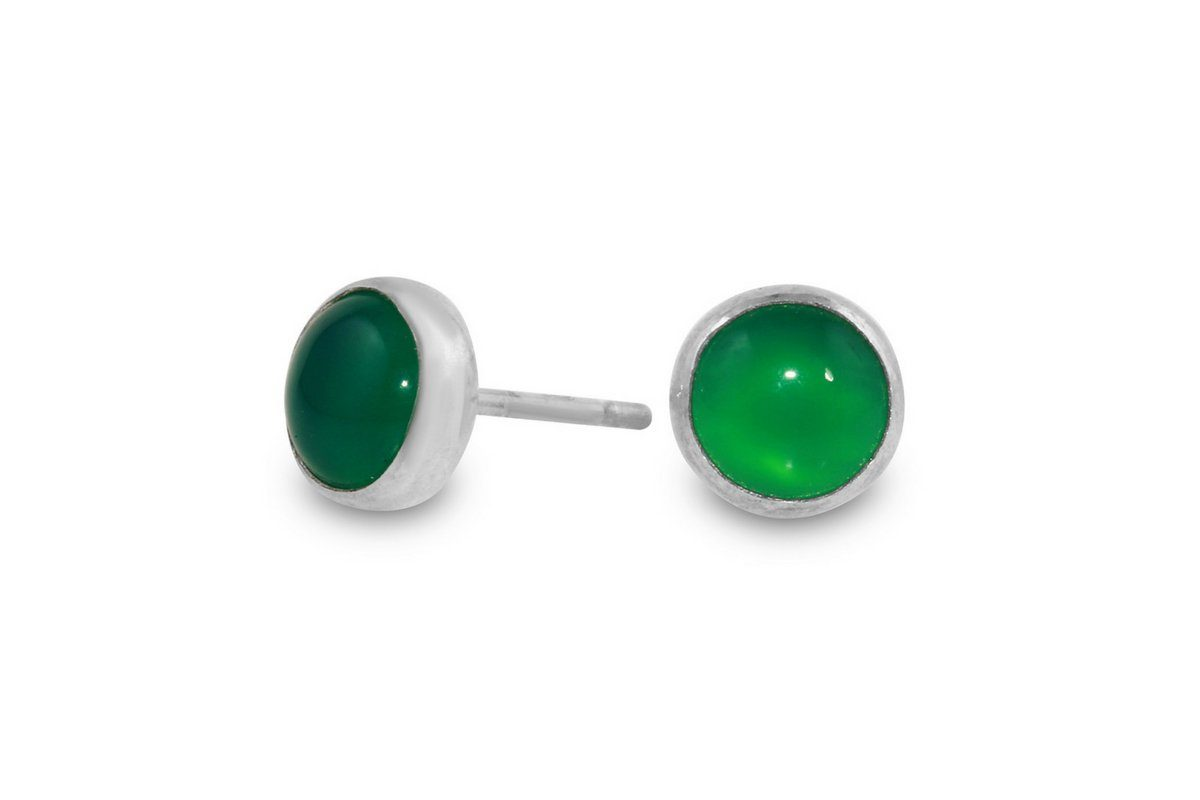 Green onyx sterling silver 6mm studs