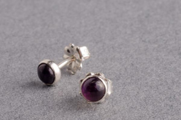 Amethyst silver dot stud earrings