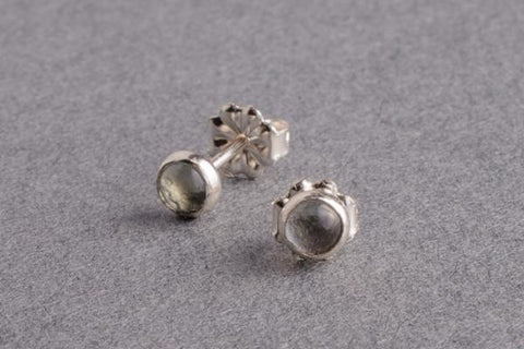 Aquamarine birthstone silver dot stud earrings - Amanda K Lockrow