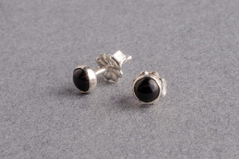Black onyx silver stud earrings - Amanda K Lockrow