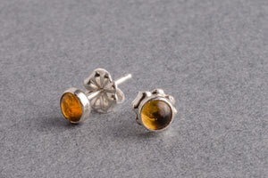 Citrine silver dot stud earrings