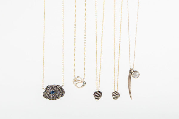 Sterling silver tusk shell and coin pearl pendant necklace // Darya Collection - Amanda K Lockrow