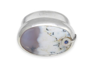Dendritic Opal sterling silver ring / size 7