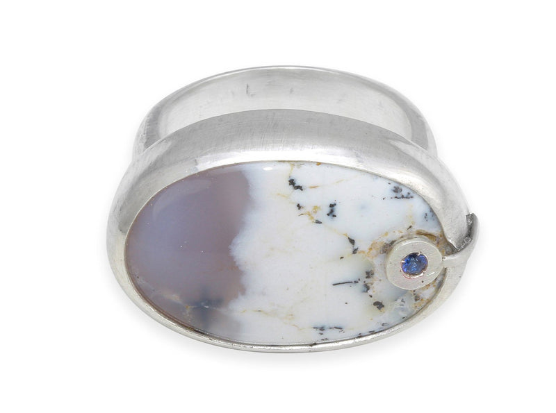 Dendritic Opal sterling silver ring / size 7 - Amanda K Lockrow