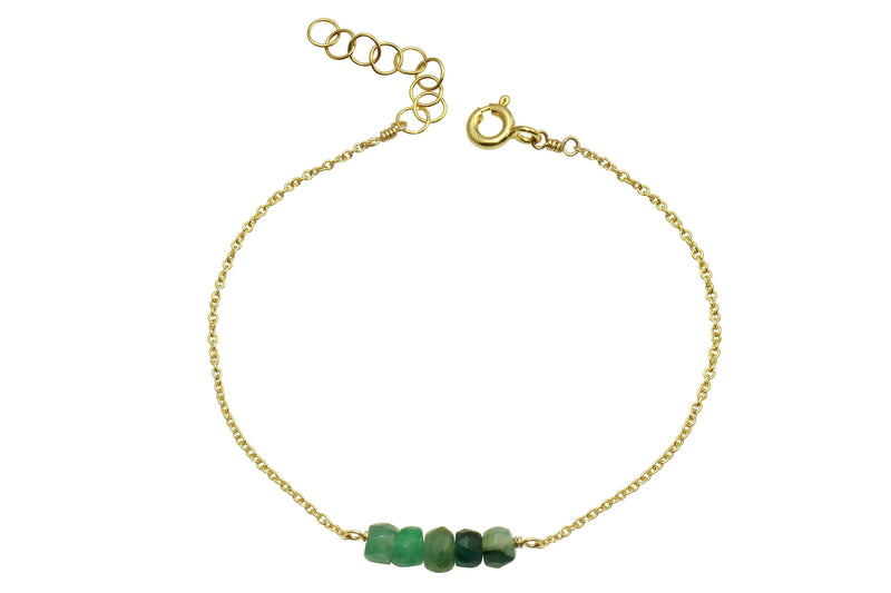 Elements- Emerald 5 stone gold filled adjustable chain bracelet