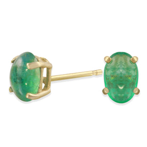 14k yellow gold Emerald stud earrings - Amanda K Lockrow