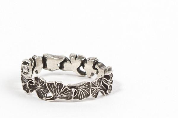 Gingko leaves sterling silver wedding band