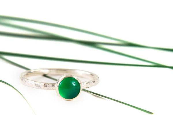 Green onyx 6mm sterling silver stacking ring