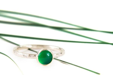 Green onyx 6mm sterling silver stacking ring - Amanda K Lockrow