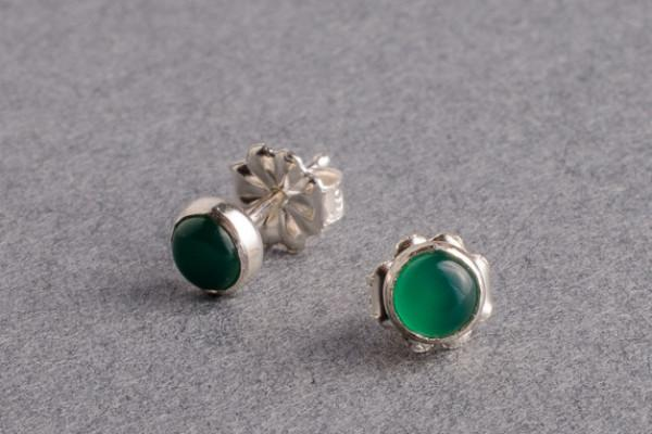 Green onyx silver stud earrings - Amanda K Lockrow