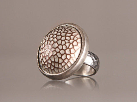 Sterling silver copper crater button ring